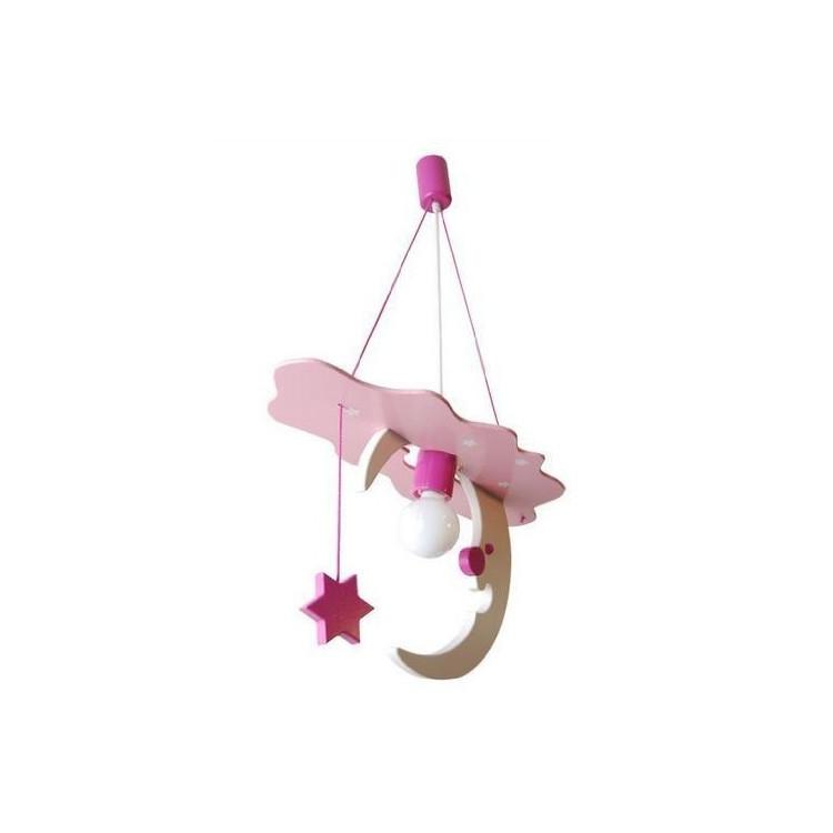Lampadario LUNA rosa/bianco per cameretta 0106.03