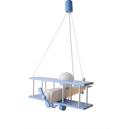 Lampadario AEREO bianco/azzurro 48cm, lampada per cameretta bimbo in legno