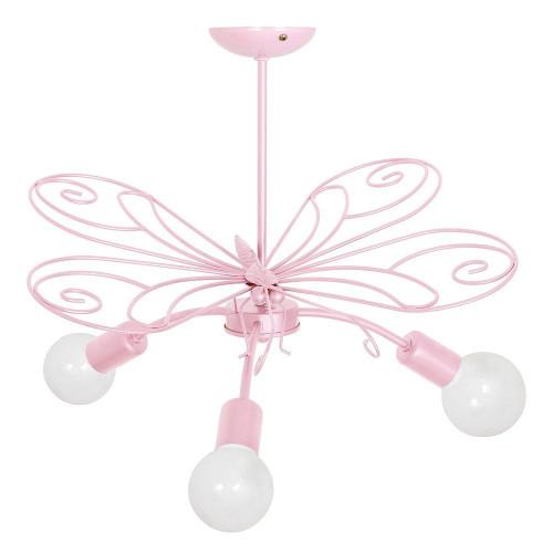 3933 Lampadario da parete/soffitto, applicque per cameretta bambini, per bimba, Farfalla3 rosa.