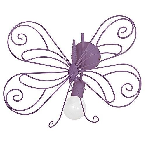 5340 Lampadario da parete in acciaio per cameretta bambini, per bimba, Farfalla1 viola.