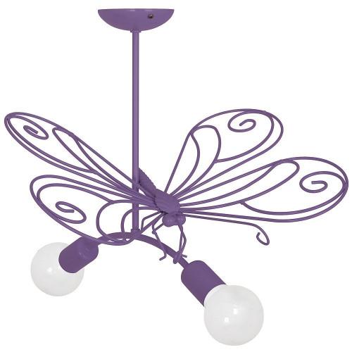 5341 Lampadario in acciaio per cameretta bambini, per bimba, Farfalla2 viola