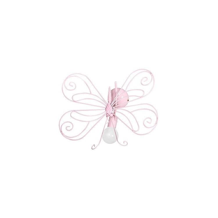 3931 Lampadario da parete cameretta bambini, per bimba, Farfalla1 rosa.