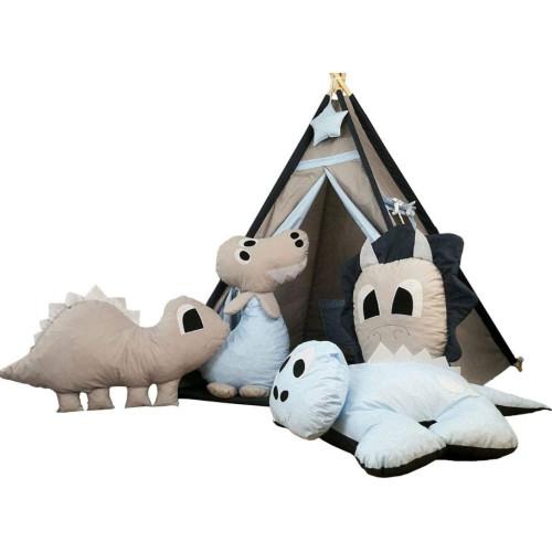 Bambi® Tenda indiana teepee in tessuto per cameretta bambini con tappetino e 4 simpatici cuscini. Tipi Dino.