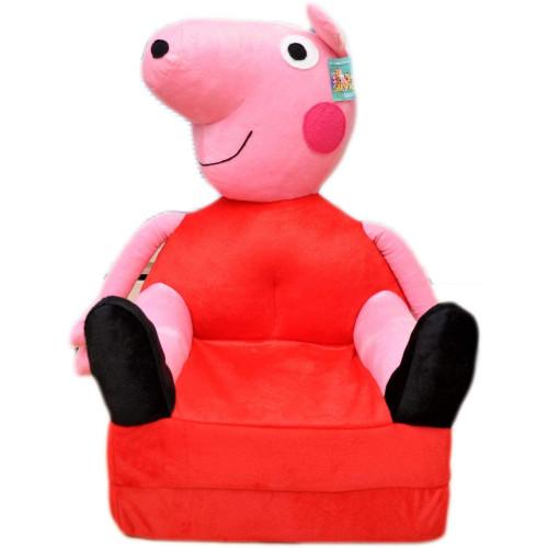 Bambi® Poltrona, poltroncina apribile, divanetto per bambini in morbido peluche. Divano e giocattolo Peppa.