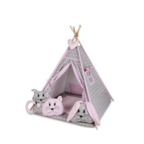 Bambi® Tenda indiana teepee in tessuto per cameretta bambini con tappetino e 4 simpatici cuscini. Tipi 4 Animali. Rosa chiaro.