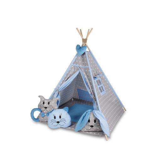 Bambi® Tenda indiana teepee in tessuto per cameretta bambini con tappetino e 4 simpatici cuscini. Tipi 4 Animali. (celeste)