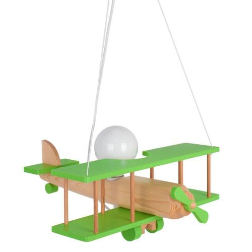 Lampadario a sospensione per cameretta bimbo , aereo in legno 45cm. 104.11.19 Colore Nero/legno naturale.